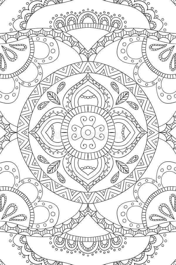 Mandalabakgrund Etniska dekorativa beståndsdelar tecknad hand Färgläggningbok för vuxna människor vektor illustrationer