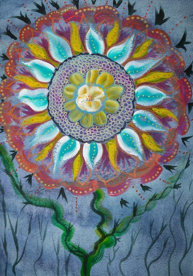 Mandalabloem op een blauwe achtergrond royalty-vrije illustratie