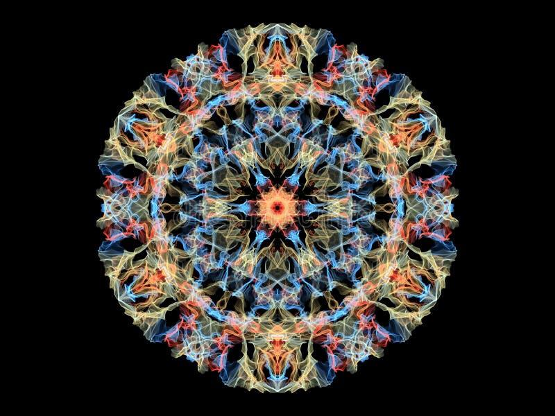 Mandalabloem van de blauwe, gele en koraal abstracte vlam, sier bloemen rond patroon op zwarte achtergrond Yogathema stock illustratie