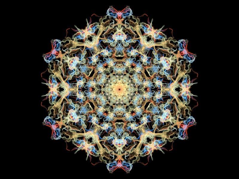 Mandalabloem van de gele, blauwe en koraal abstracte vlam, sier bloemen rond patroon op zwarte achtergrond Yogathema royalty-vrije illustratie