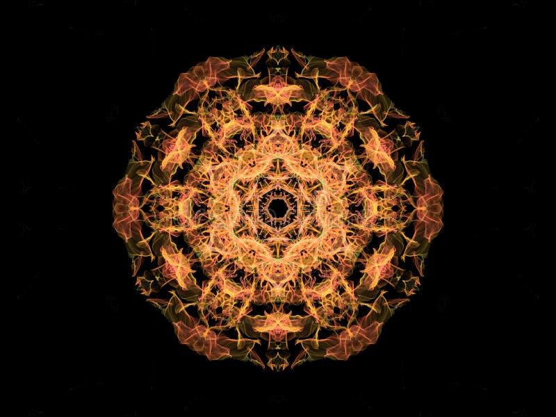 Mandalabloem van de gele en koraal abstracte vlam, sier bloemen rond patroon op zwarte achtergrond Yogathema vector illustratie