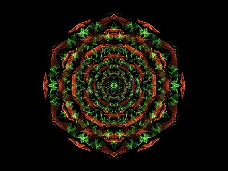 Mandalabloem van de groene en koraal abstracte vlam, sier bloemen rond patroon op zwarte achtergrond Yogathema stock illustratie