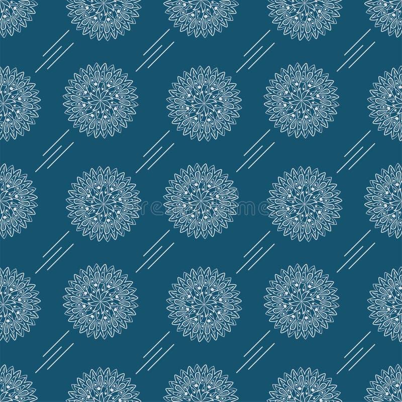 Mandalablommaöversikt Abstrakt modell på en blå bakgrund stock illustrationer