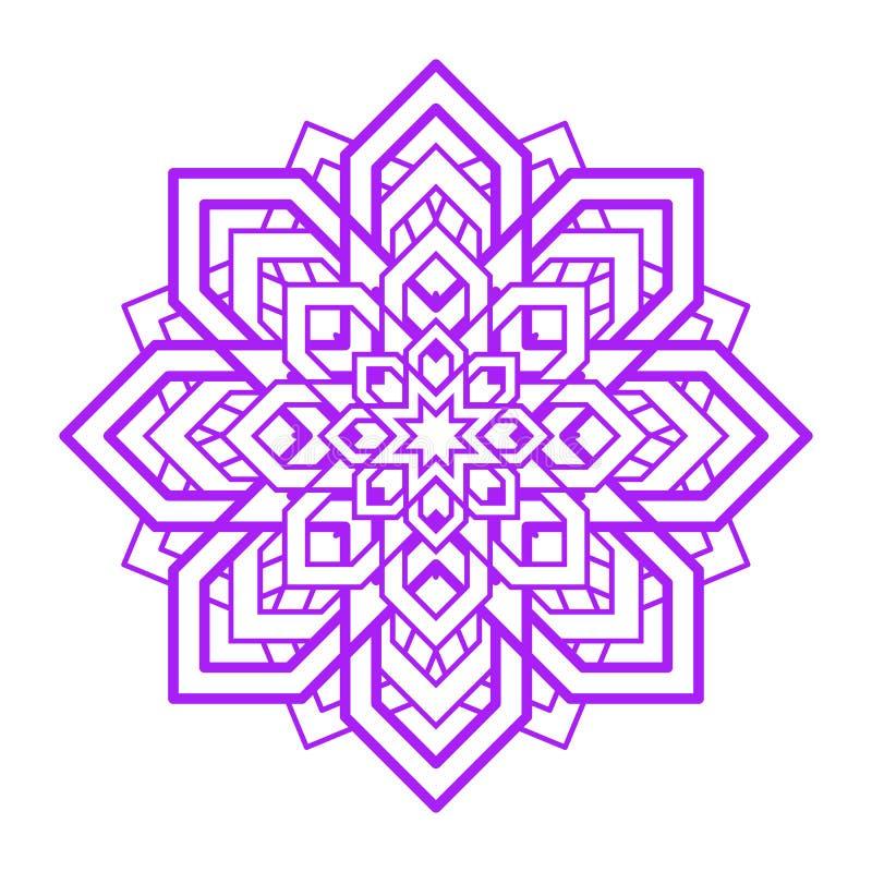 Mandalablomma Beståndsdel för vektoryogadesign Abstrakt runt symbol Violett blom- illustration Modern idé för yoga, meditationte vektor illustrationer