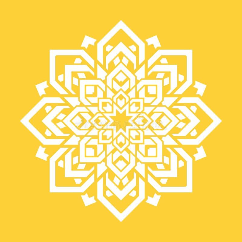 Mandalablomma Beståndsdel för vektoryogadesign Runt blom- symbol Vit och guling Ny idé för yogalärare, meditationteache royaltyfri illustrationer