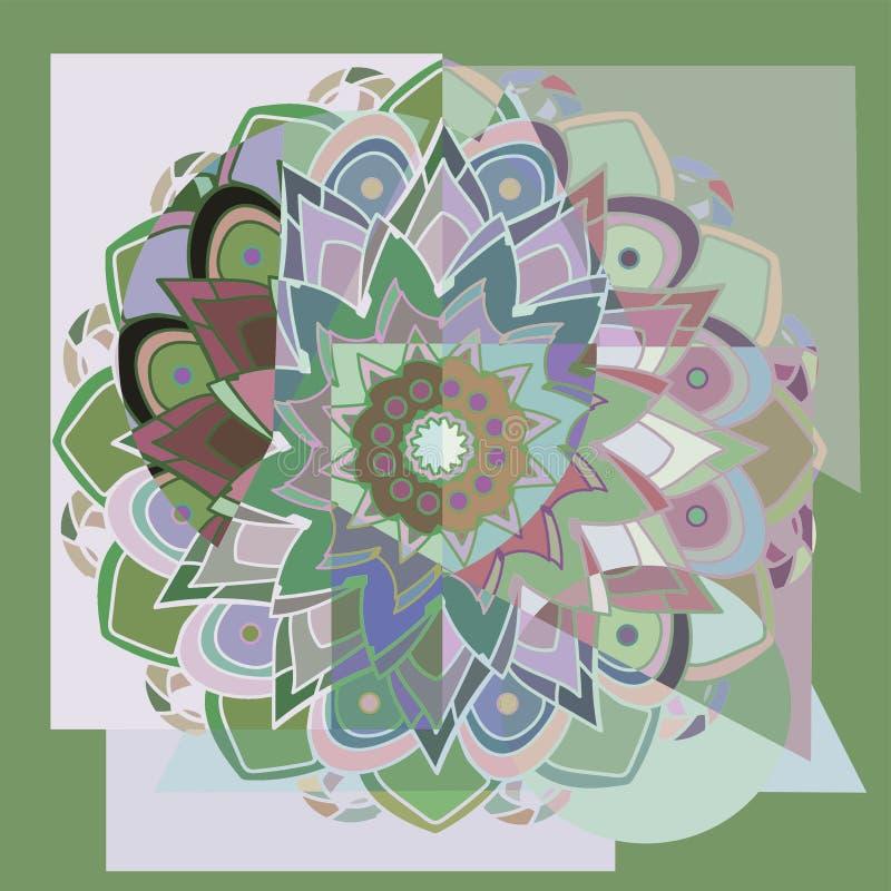 Mandalablomma geometrisk bakgrund PALETT FÖR PASTELLFÄRGADE FÄRGER CENTRAL BLOMMA I GRÖNT, BLÅTT, PURPURFÄRGAT, BEIGE, VITT vektor illustrationer