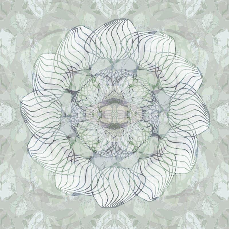 Mandalablomma MONOCROME-PALETT CENTRAL LINJÄR DESIGN, DEKORATIV BAKGRUND I GRÅTT OCH VITT CENTRAL BLOMMA I GRÅTT OCH VITT vektor illustrationer