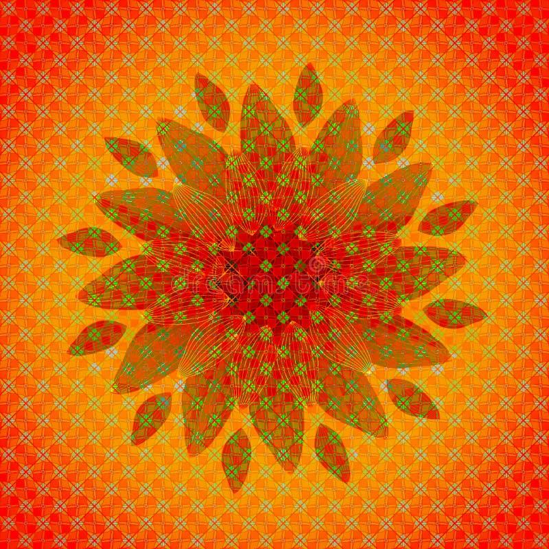 Mandalablomma Textured avbildar CENTRAL BLOMMA I ORANGE, GRÖNT OCH RÖTT GEOMETRISK BAKGRUND I ORANGE, RÖTT OCH GRÖNT vektor illustrationer