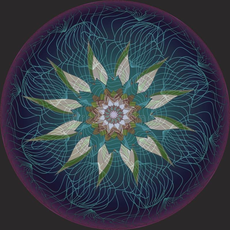 Mandalablomma Vanlig svart bakgrund Linj?r design CENTRAL BLOMMA I GRÅTT, VITT, GRÖNT, BRUNT, LJUST - blått stock illustrationer