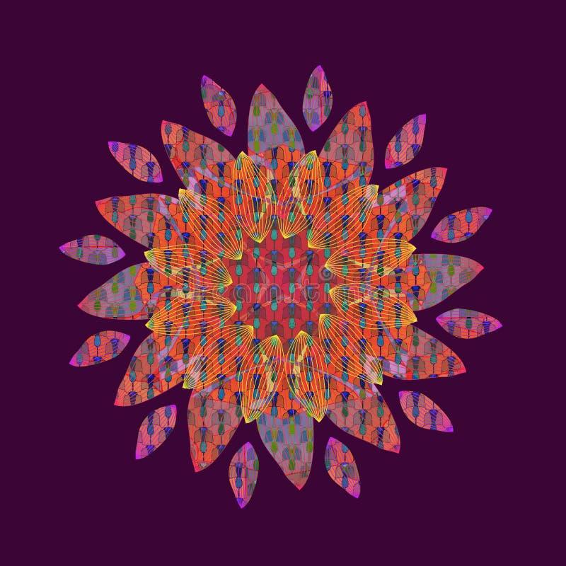 Mandalablomma VANLIG VIOLETT BAKGRUND LINJÄR CENTRAL DESIGN BLOMMA I GULING, FUCHSIA, APELSIN, TURKOS tappning f?r stil f?r illus royaltyfri illustrationer