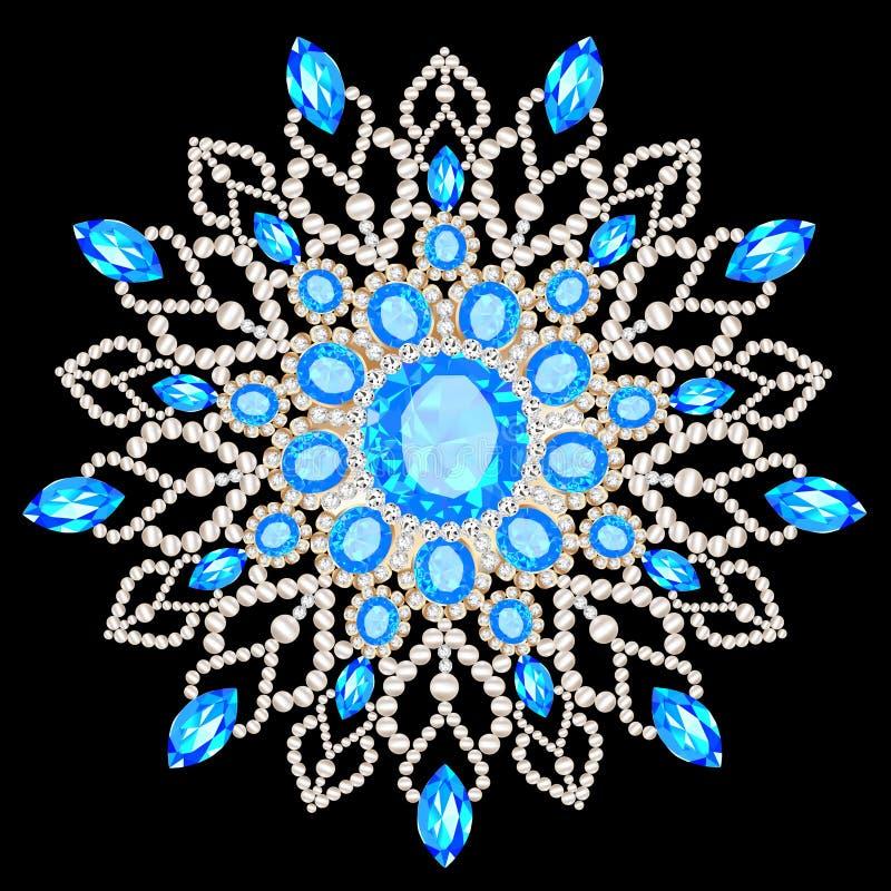 Mandalabroschsmycken, designbeståndsdel Stam- etniskt blom- royaltyfri illustrationer