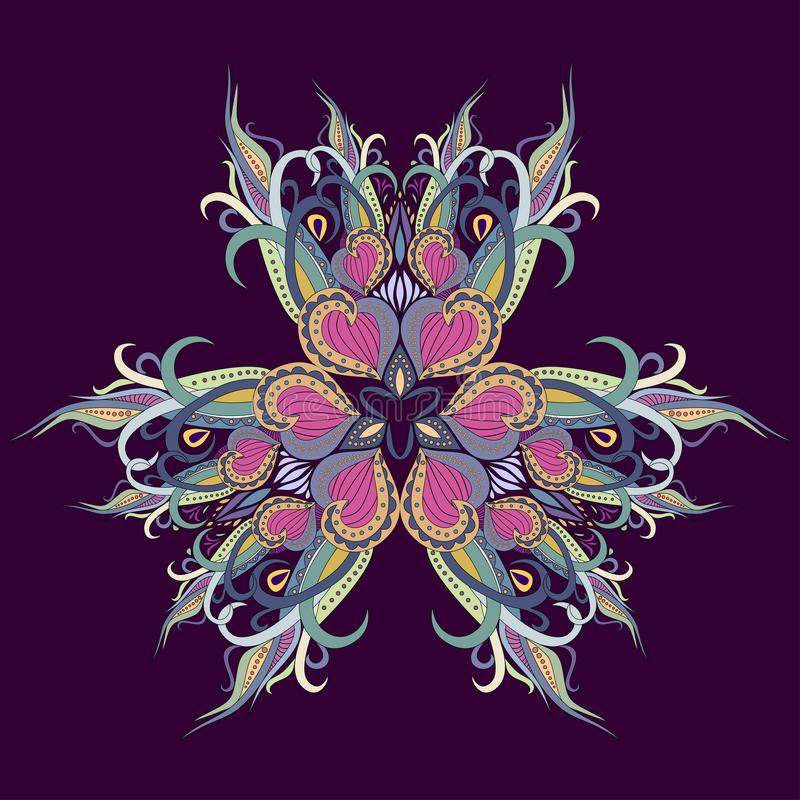 Mandaladecoratie, kleurrijk ornament Gestileerd krabbel bloemenpatroon, geïsoleerd ontwerpelement op een violette achtergrond royalty-vrije stock fotografie
