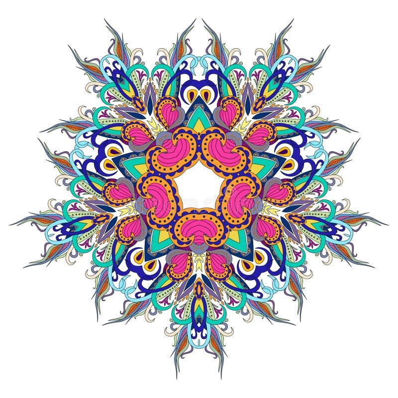 Mandaladecoratie, kleurrijk ornament Gestileerd krabbelpatroon, geïsoleerd ontwerpelement op een witte achtergrond voor embleem stock afbeeldingen