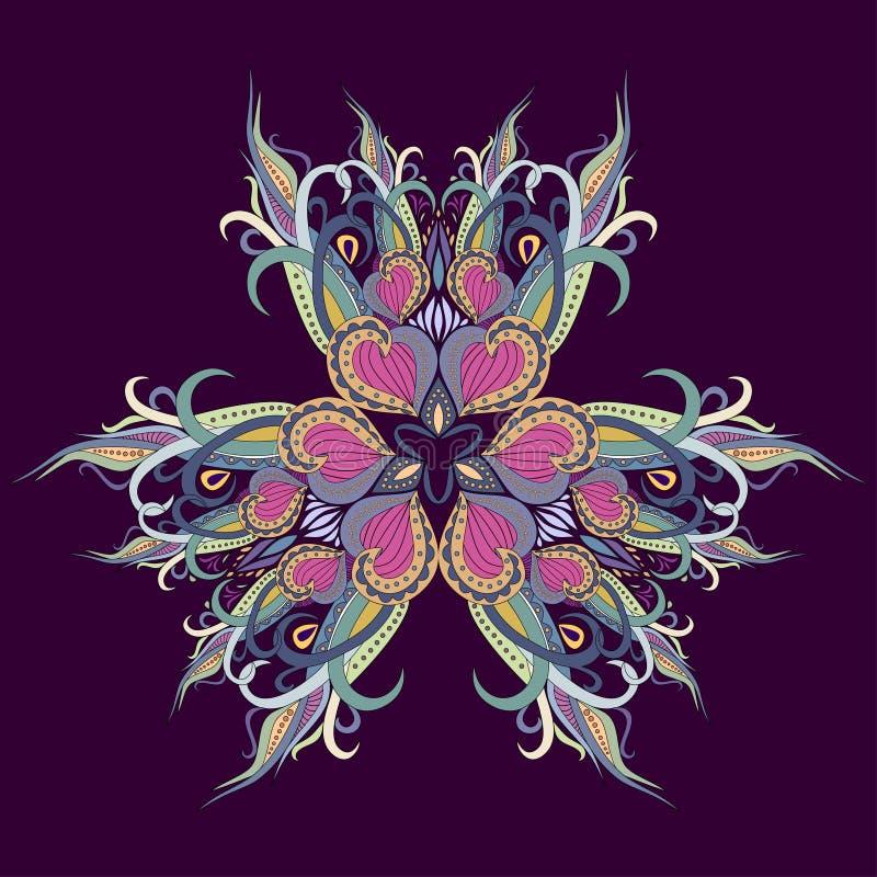 Mandaladekoration, bunte Verzierung Blumenmuster des stilisierten Gekritzels, lokalisiertes Gestaltungselement auf einem violette lizenzfreie stockfotografie