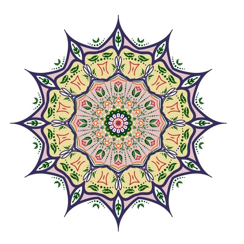 Mandaladesign, dekorative Elemente der Weinlese, dekorativer Gekritzelhintergrund vektor abbildung