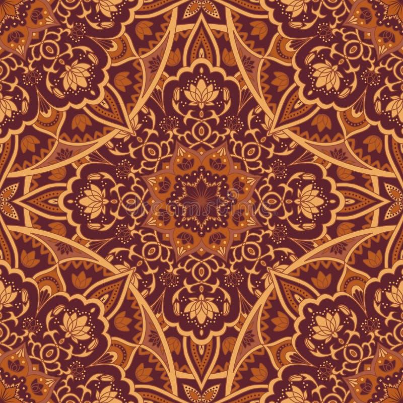 Mandalaen i brunt färgar den sömlösa modellen vektor illustrationer