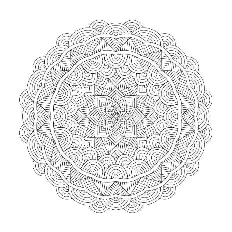Mandalafärgläggningbok för vuxna människor stock illustrationer