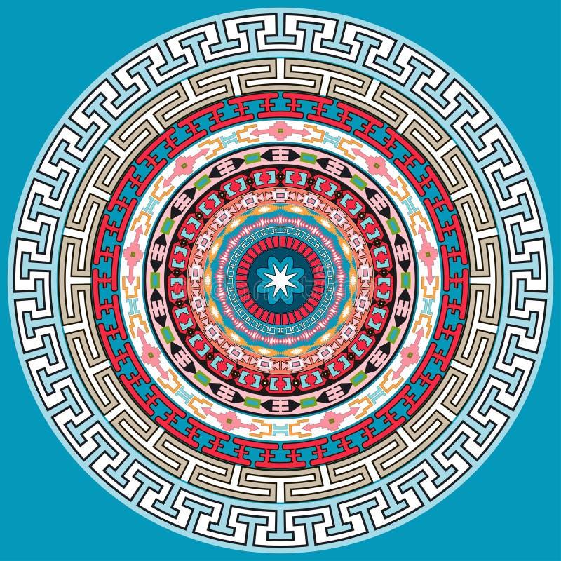 Mandalagarnering Hand dragen stildekor för färgläggningbok Stam- etnisk blom- mandalarundamodell, klotterkonst för att färga royaltyfri illustrationer