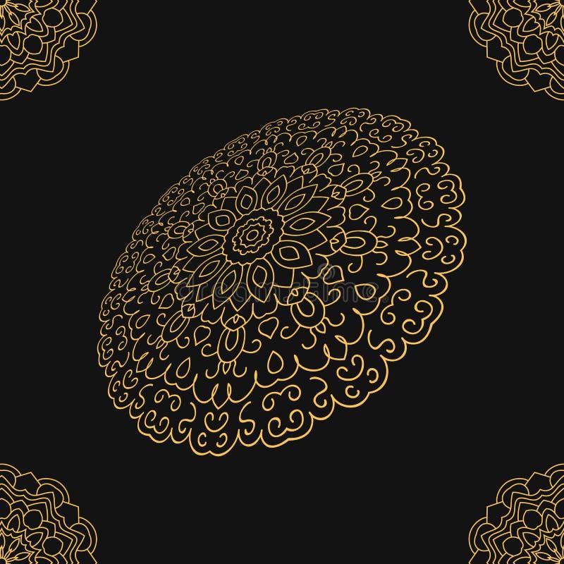 Mandalaguld, rund etnisk prydnad i indiern, zigenare royaltyfri illustrationer
