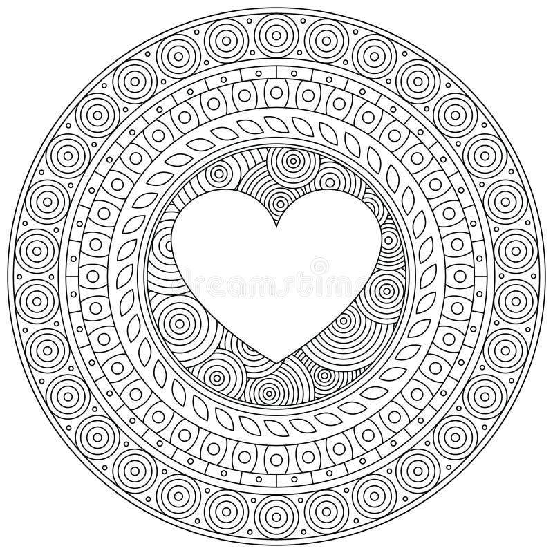 Mandalaherz Für Valentinstag Dekorative Runde Verzierung Muster Auf ...