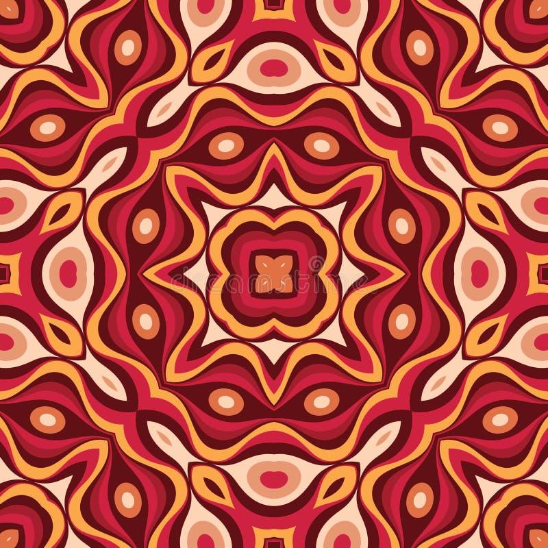 Mandalakunst-Vektorhintergrund Abstraktes geometrisches nahtloses Muster Dekorative Verzierung in der Retro- Weinleseentwurfsart  lizenzfreie abbildung
