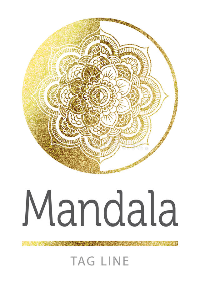 Mandalalogo vektor illustrationer