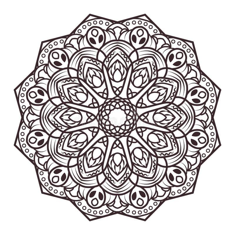 Mandalaontwerpen voor volwassen kleurende boeken, decoratie, enz. stock illustratie