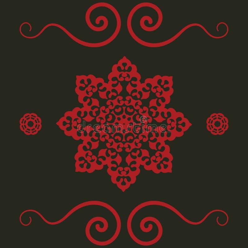 Mandalapatroon in rode Kleur Uitstekend decoratief Hand getrokken element Islamitisch, Arabisch, Perzisch, Indisch, Ottomanemotie stock illustratie