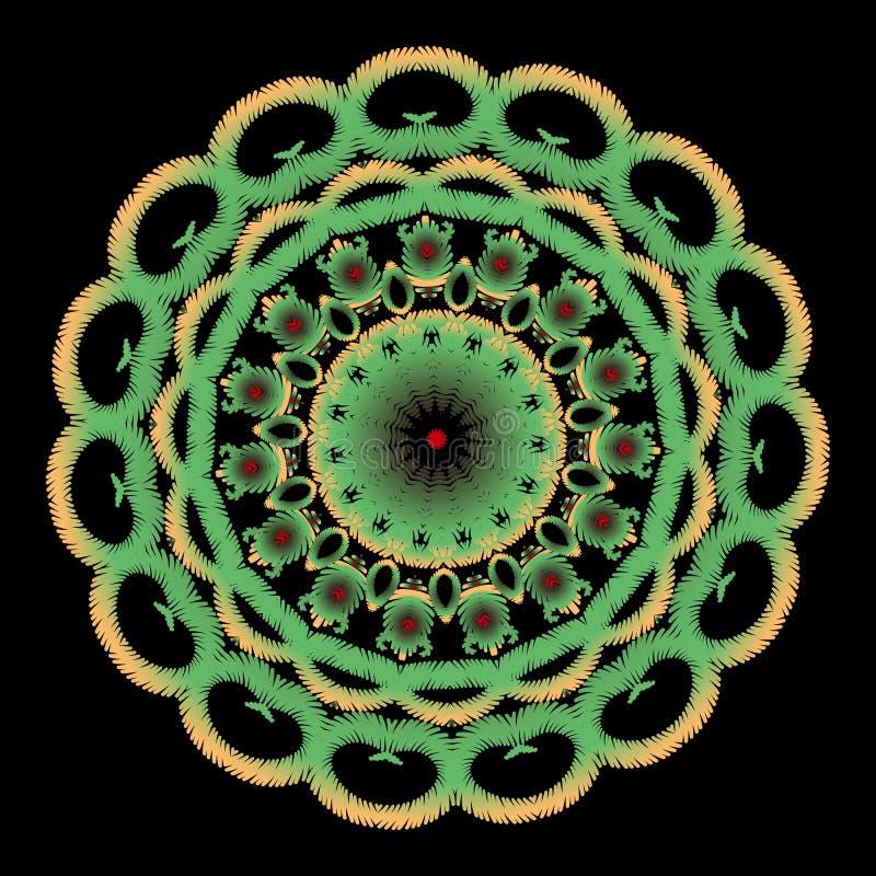 Mandalapatroon van het borduurwerk kleurrijk bloemenkant Vector grungy achtergrond Geweven bloemen etnisch kanten ornament met ta stock illustratie