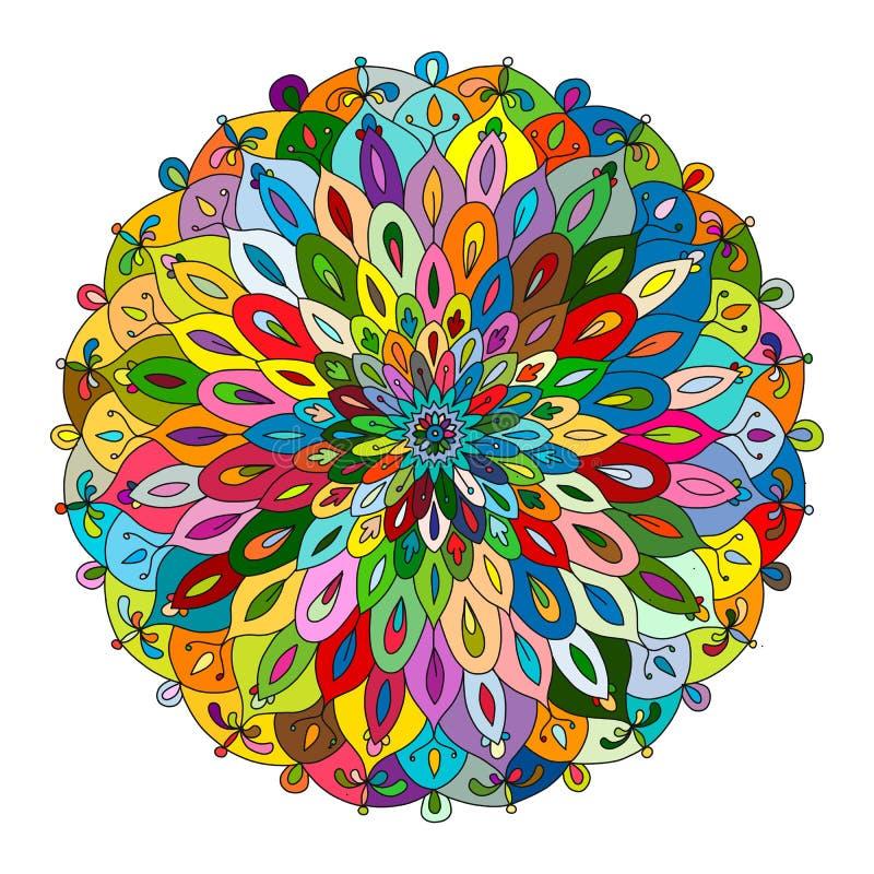 Mandalaprydnad, färgrik modell för din design royaltyfri illustrationer