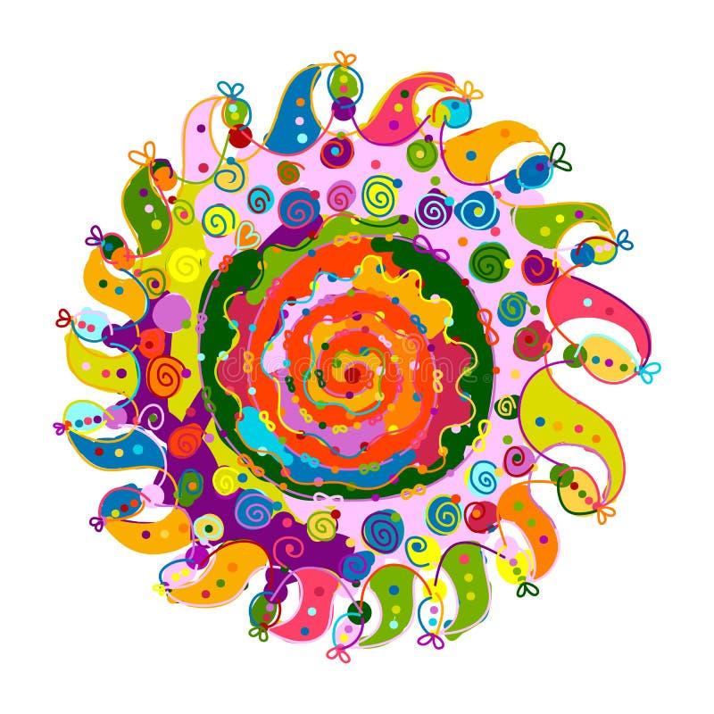 Mandalaprydnad, färgrik modell för din design stock illustrationer