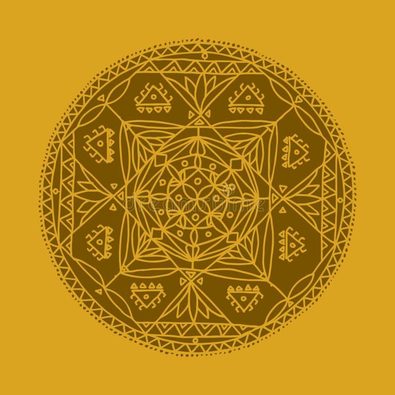 Mandalaprydnad, gjord hand - skissa för din design stock illustrationer