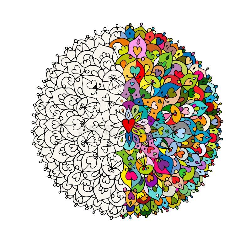 Mandalaprydnad, gjord hand - skissa för din design royaltyfri illustrationer