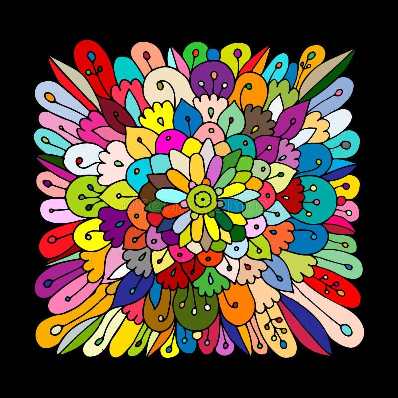 Mandalaprydnad, gjord hand - skissa för din design vektor illustrationer