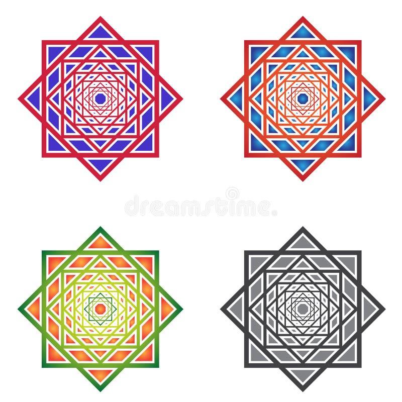 mandalas Квадратные орнаменты вектор иллюстрация штока
