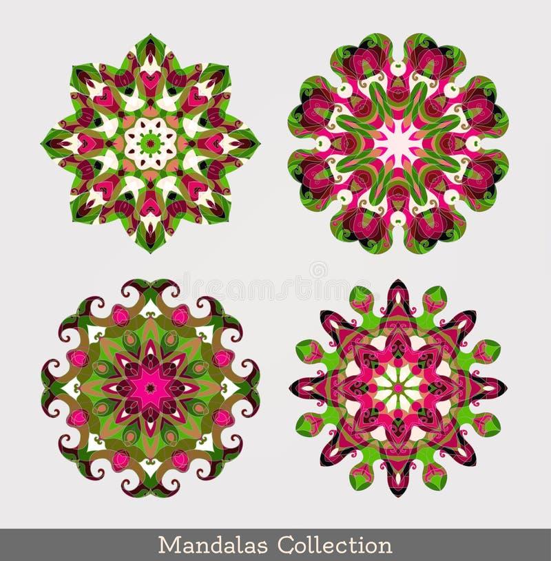 Mandalas ajustadas Teste padrão floral redondo ilustração royalty free