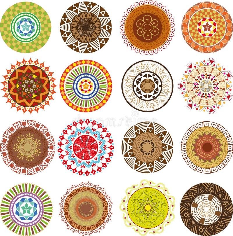 Mandalas coloreadas ilustración del vector