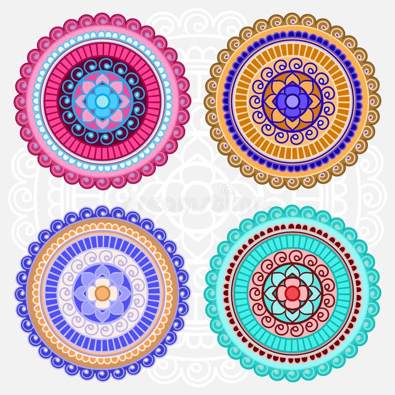 Mandalas coloreadas del vector libre illustration