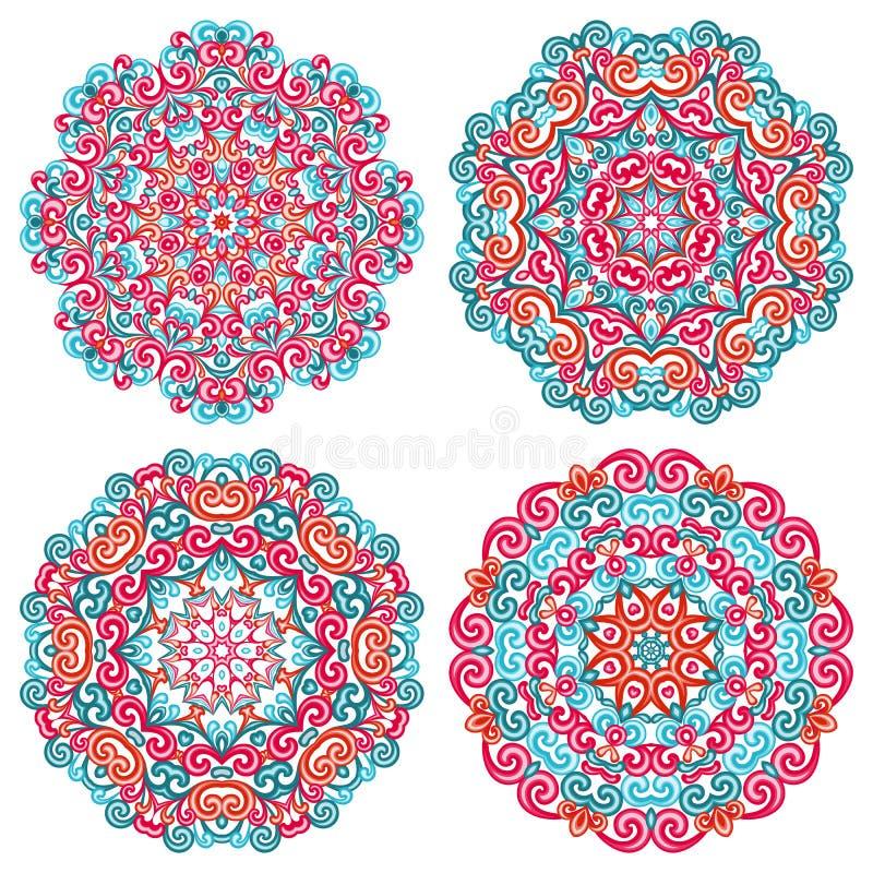 Mandalas coloridas no estilo oriental Grupo de testes padrões étnicos redondos no fundo branco ilustração do vetor