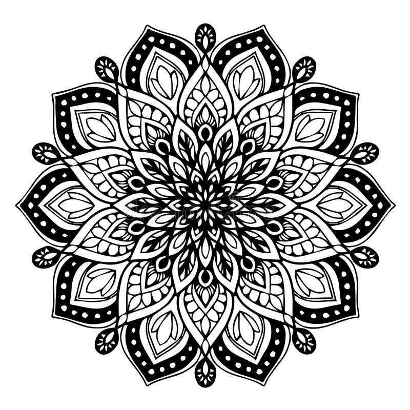 Mandalas for coloring book. Decorative round ornaments. Unusual flower shape. Oriental vector, Anti-stress therapy patterns. Weave. Design elements. Yoga logos royalty free illustration