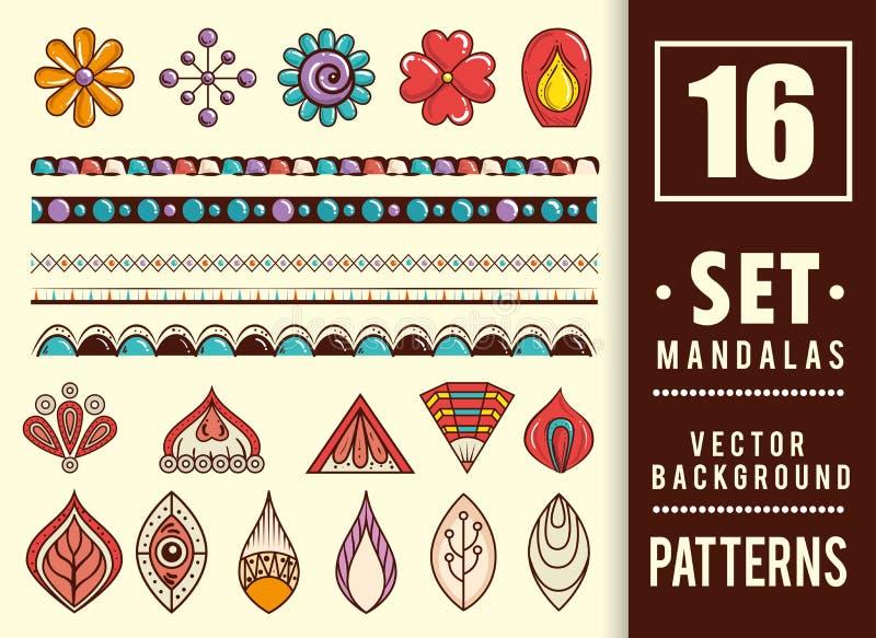16 mandalas colors boho style set. Vector illustration design royalty free illustration