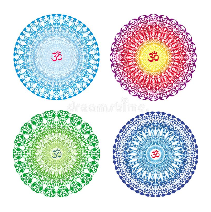 4 Mandalas in 4 colors. Openwork colorful circular ornament with Aum / Ohm / Om symbol. stock illustration
