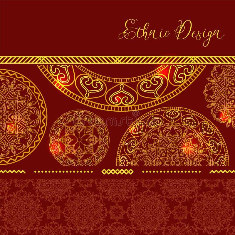 Mandalas d'or avec des points culminants Fond de vecteur Conception ethnique illustration stock