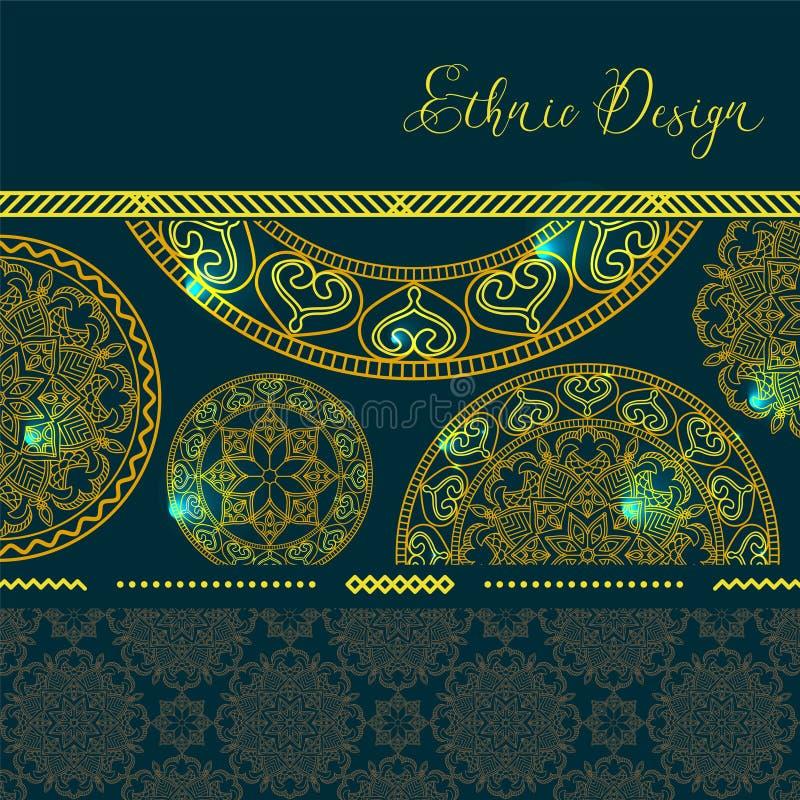 Mandalas d'or avec des points culminants Fond de vecteur Conception ethnique illustration de vecteur