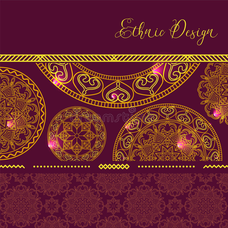 Mandalas d'or avec des points culminants Fond de vecteur Desig ethnique illustration libre de droits