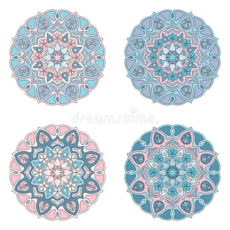 Mandalas da coloração ajustadas cor-de-rosa e azuis fotos de stock royalty free