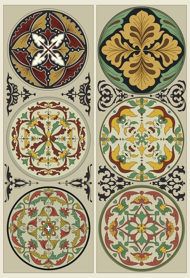 Mandalas de fleur - fleuri traditionnel photographie stock