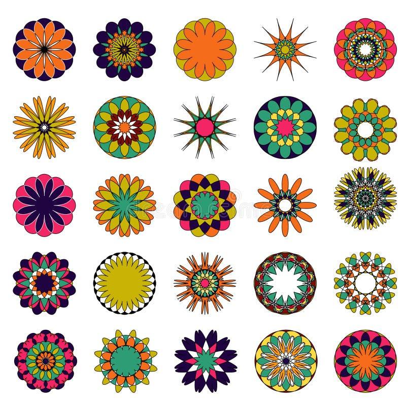 mandalas del vector Sistema coloreado de la mandala stock de ilustración