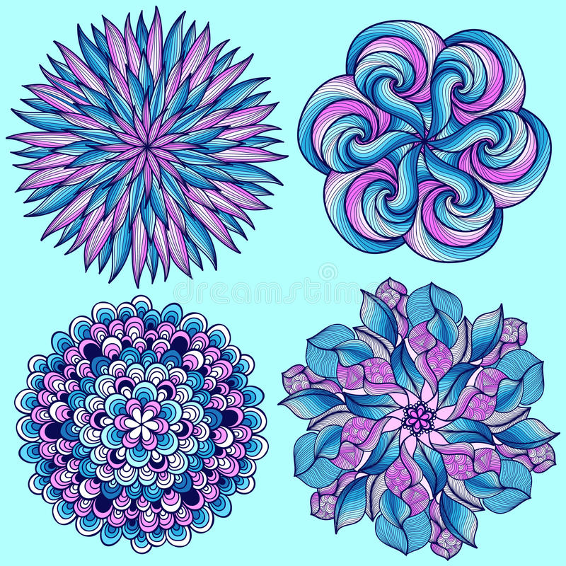 mandalas del vector Sistema coloreado de la mandala Ornamento redondo oriental elemento asiático del diseño ilustración del vector