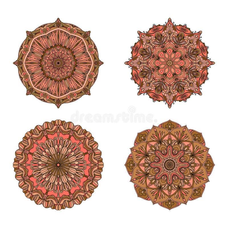 mandalas del vector Sistema coloreado de la mandala Ornamento redondo oriental elemento asiático del diseño libre illustration